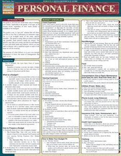 Personal Finance Laminated Reference Guide An overview of the many ways to…