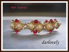 Red Golden Pearl ... by darlovely | Jewelry Pattern - Looking for your next project? You're going to love Red Golden Pearl Bracelet (BB103) by designer darlovely. - via @Craftsy