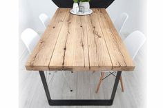 Amazing new inspiration reclaimed plank table ideas Home Furniture, Furniture Design, Oak Table Top, Plank Table, Table Legs, Industrial Table, Rustic Table, Home And Living, Home Furnishings
