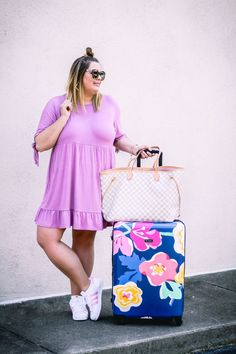 Lavender tee shirt dress - travel outfit