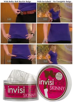 Invisibelt is a smooth, undetectable belt with a flat clasp which prevents that Belt Buckle Bulge when you want to wear a slim fitting top over your jeans, trousers or skirt. It's adjustable and comes in a Clear and Black colour style. A must-have accessory for all ladies. www.SecretFashionFixes.com