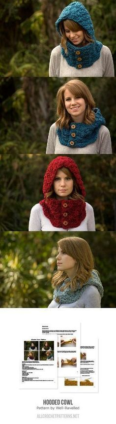 Hooded Cowl Crochet Pattern Hooded Cowl Crochet Pattern Learn the rudiments of how to needlecraft (g Crochet Scarves, Crochet Shawl, Crochet Clothes, Crochet Stitches, Knit Crochet, Crochet Beanie, Double Crochet, Diy Clothes, Bonnet Crochet