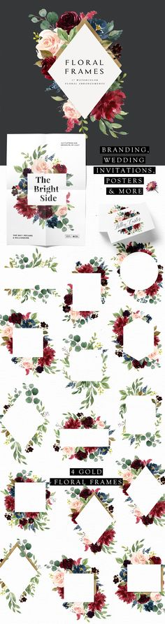 Burgundy&Navy Floral Graphic Set by Graphic Box on @creativemarket