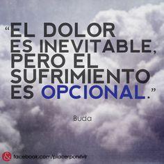 """""""El dolor es inevitable, pero el sufrimiento es opcional.""""  #Buda #frase #inspiracion"""