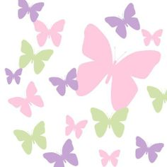 "Butterfly Wall Decals- Pink, Sage Green & Lavendar Girls Butterfly Wall Stickers by Create-A-Mural. $27.99. Ahderes to any flat, dry surface - furniture,glass, mirror and more. Unique Custom Design Exclusive To Create-A-Mural. Easy Peel & Stick Vinyl Wall decals wont harm surface when removed. (3) quality vinyl sheets of Peel & Stick Removable Butterfly Wall Sitcker.  Pink, Sage Green and Lavendar Butterfly Wall Stickers Approx 13 Butterflies Decals per sheet ranging in 2""-10""..."