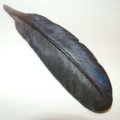 Cool! Crow wooden feather brooch large brooch hand by leebrowncarvings