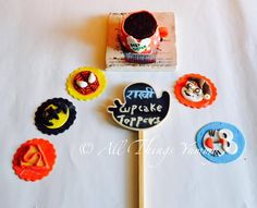 Rakhi cupcake toppers:  Category 1: For the superheroes  Category 2: For the little ones  #spiderman #superman #batman #doremon #chotabheem #cupcakes #atyummy #cupcakemug