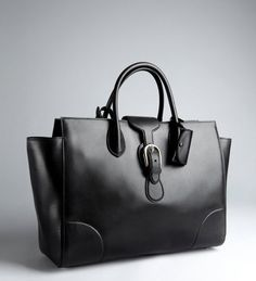 Black Leather Oversized Tote by Gucci $1590
