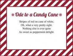 When candy canes hit the store shelves, it's a sure sign that Christmas is just around the corner. Before you hand out these treats this year, attach a poem . Candy Poems, Candy Cane Poem, Candy Cane Story, Mini Candy Canes, Candy Quotes, Assisted Living Activities, Elf Letters, K Crafts, Peppermint Candy