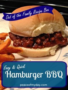 Here's an easy hamburger BBQ recipe that you can make up quickly! It goes great with sweet potato fries or macaroni & cheese. Barbecue Recipes, Grilling Recipes, Cooking Recipes, Easy Family Meals, Quick Easy Meals, Quick Hamburger Recipes, Quick Recipes, Bbq Hamburgers, Game Night Food