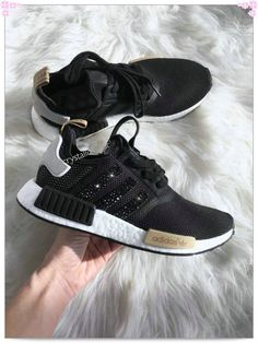 Over 70% Discount Off Authentic Adidas Stripe NMD Sneakers Black Gold White  Adidas Sripes logos SWAROVSKI Crystals Shoes Popular 2017 Fashion 920b738e02