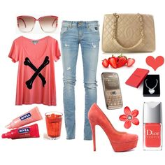 Love this strawberry color Theme outfit!