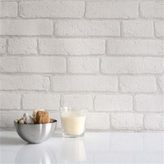 Dibnah Brick White This Product Is A Blown Vinyl Brick Wallpaper In White This Brick Wallpaper Is A Paste The Wallpaper Product And Is Washable