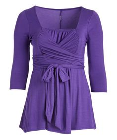 Purple Faux-Wrap Square Neck Top - Plus | zulily