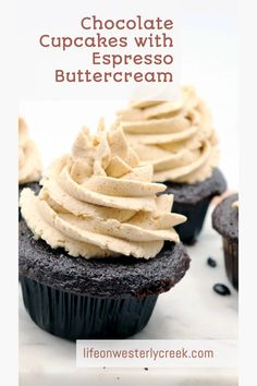 Rich chocolate cupcakes with espresso buttercream is the perfect marriage of flavors. The buttercream has just a hint of espresso, providing a perfect subtle complement