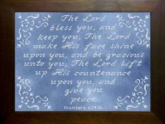 From our Icings Collection, The Lord Bless You was designed to use white floss on dark hand dyed or hand painted fabrics. The effect creates a strikingly polished look much like Frosting on a Cake! The Lord Bless You finishes to 9 x x 126 x 166 stitches. Embroidery Patterns Free, Cross Stitch Embroidery, Hand Embroidery, Cross Stitch Charts, Cross Stitch Designs, Cross Stitch Patterns, Numbers 6 24, Hand Painted Fabric, Note Paper