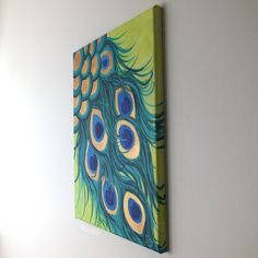 Original Painting, PEACOCK FEATHERS, 12x16 acrylic canvas, home decor wall art.