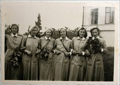 My maternal grandmother as a Lotta in the Swedish Women's Voluntary Defense, second from right, probably before her marriage in 1943.