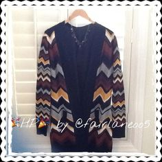 """MISSONI for Target Open Cardigan  Such a nice looking Cardigan, colors are perfect together!  Open cardigan no buttons, measurements are, L- 33"""" from shoulder, Sleeves 26"""", Pit to Pit w/o stretching 20"""", Shoulder to Shoulder 15"""" w/o stretching, one pkt on each side in front.  Never worn, no tags bc I have washed it!  Must see to believe how sweet this is!   ALL REASONABLE OFFERS CONSIDERED THROUGH THE OFFER FEATURE ONLY  Have a great Poshing day!!'HPby @fairlaneoo5 MISSONI for Target…"""