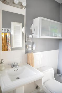 White Bathroom with Lovely Gray Walls.  So Simple. So Pretty.