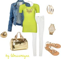Spring Outfit : Denim jacket, Lime green top.  White Jeans.  Gold Purse/Handbag & Sandals.