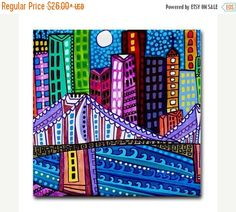 50% Off Today- Ceramic Tile Brooklyn Bridge City Art New york City Art