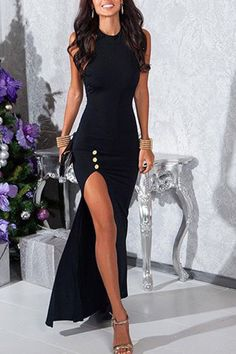 Jewel Neck Sleeveless High Slit Prom Dress