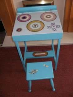 My mum's desk made in spirograph designs from our childhood , and my grandma's stool.Too small to go with the desk, but put bother antiques together.Desk made by mum's uncle and made with plywood and inch wood for legs. Spirograph, Stool, Chair, Plywood, Childhood, Desk, Antiques, How To Make, Furniture