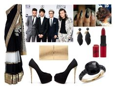 """""""#1117 Red Carpet with 1D In Indian Style"""" by arasshjit ❤ liked on Polyvore featuring Giuseppe Zanotti, Rimmel, Pomellato, Nina Ricci, RedCarpet, OneDirection, indian and saree"""