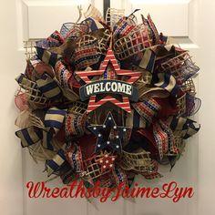 Patriotic Welcome Wreath patriotic deco mesh wreath Memorial