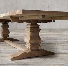 RHu0026 Salvaged Wood Trestle Rectangular Extension Dining Table:Our Salvaged  Wood Trestle Table Is Handcrafted Of Unfinished, Solid Salvaged Pine  Timbers From ...