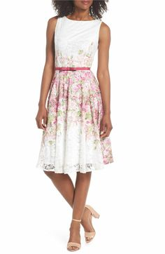 031e15c3e9 Gabby Skye Belted Floral Lace Fit   Flare Dress