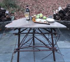 Corner table made from pin cherry saplings. This is a great example of elegant rustic furniture.