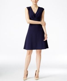 Betsey Johnson V-Neck Cross-Back Fit & Flare Dress | macys.com