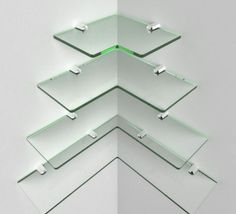 Modern corner shelf glass acrylic shelving chrome fittings included multiple sizes for cascading shelves