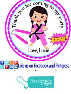 Karate Girl Darker Hair Personalized Stickers Birthday Party Favors - Treat Tag Toppers- 24 Stickers Popular Size 2.5 Inches. Peel- and- Stick Backing Self-Adhesive Stickers from Custom Party Favors, Handmade Craft , and Educational Products http://www.amazon.com/dp/B01GP3K6RC/ref=hnd_sw_r_pi_dp_.kPvxb0T9VMN9 #handmadeatamazon