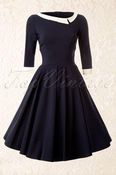 The Pretty Dress Company - Navy Mistress Mad Men Vintage Swing dress