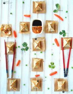 How to make Samosa Wontons - The wontons are filled with samosa fillings and baked in the oven. This is a twist on the classic Indian samosa recipe