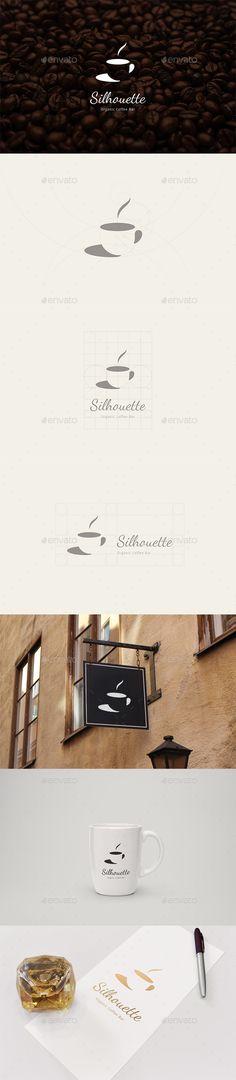 Silhouette Organic Coffee Bar Logo: Food Logo Design Template by blooon. Elegant Business Cards, Cool Business Cards, Brand Identity Design, Logo Design, Graphic Design, Coffee Shop Logo, Cup Logo, Cafe Branding, Retro Logos