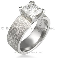 Mokume Princess Engagement Ring - 4 Cutout Head - Taking the Modern feel a little farther with the clean lines of a princess cut diamond, this unique engagement ring has a straight band with a slightly tapered square setting. The setting has 4 cutouts. This engagement ring will fit next to a straight wedding band. Main image shown is 6mm wide.