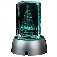 IFOLAINA 3d Laser Crystal Christmas Gift Subsurface Engraved Merry Christmas with Round LED Plastic Stand Multicolor ** Want to know more, click on the image.