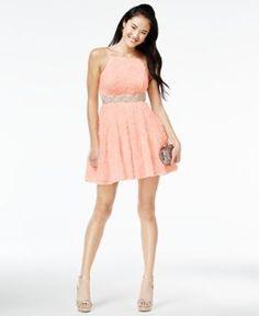 Trixxi Juniors' Embellished Soutache Fit & Flare Dress - Pink 7