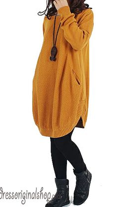 Yellow sweater dress cotton sweater large size sweater knitted sweater casual loose sweater blouse plus size sweater tops