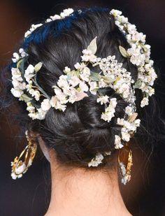 Dolce&Gabbana Spring 2014 peinado con flores