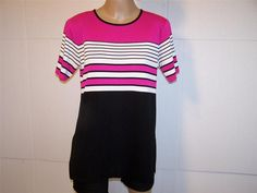 EXCLUSIVELY MISOOK Shirt Top M Short Sleeves Pink Black white Stretch Womens #Misook #KnitTop #Casual