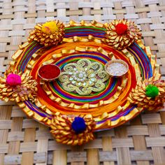 Disposable Face Mask with Earloop, Breathable and Comfortable for Personal Care Protection Masks) Arti Thali Decoration, Thali Decoration Ideas, Diwali Decorations, Basket Decoration, Art N Craft, Craft Work, Buy Rakhi Online, Rakhi Making, Piercings