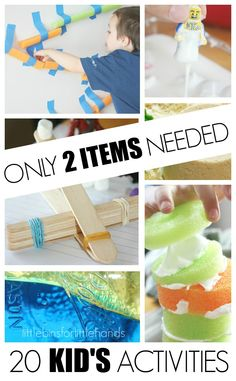20 Kids Activities Only 2 Items Needed for quick kids activities. Simple activities using easy to fin and common items around the house or at the store.
