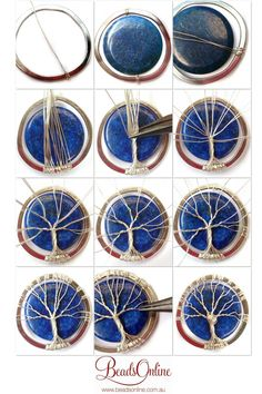Tutorial DIY Wire Jewelry Image Description Lapis Lazuli Tree of Life diy wire wrapoed stone pendant ~Wire Jewelry Tutorials Wire wrapping is additionally a popular craft since it can be quite relaxing and soothing. Wire wrapping is truly easy, and the ma Bijoux Wire Wrap, Wire Wrapped Jewelry, Beaded Jewelry, Handmade Jewelry, Wire Wrapped Stones, Glass Jewelry, Pendant Jewelry, Pendant Necklace, Beaded Rings