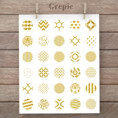 Digital collage sheet: GOLD GLITTER 1 inch circles glitter gold patterns for pendants, bottle caps, paper craft, collage sheet #etsy #download