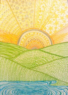 Zentangle sun landscape by Die Daisy Dingen Kunst Sonne Landscape Quilts, Landscape Art, Posca Art, 5th Grade Art, Sun Art, School Art Projects, Elements Of Art, Art Classroom, Art Club